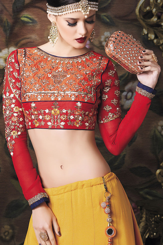 Buy Red and Yellow Art Jacquard Wedding Lahanga Online at indi.fashion