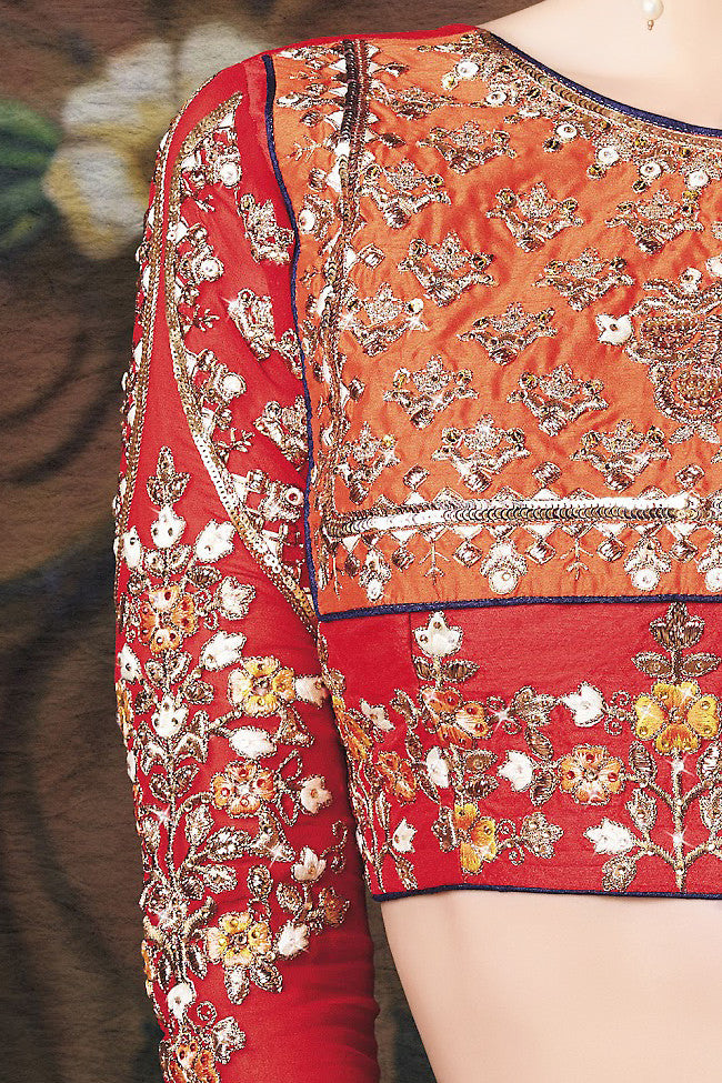 Indi Fashion Red and Yellow Art Jacquard Wedding Lahanga