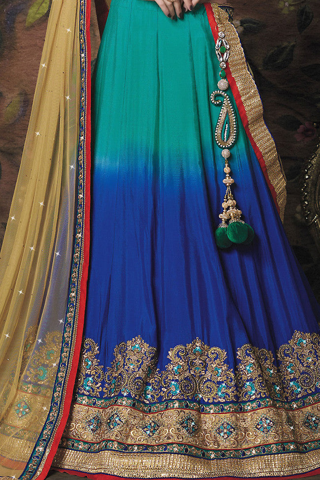 Buy Green Blue and Cream Art Crepe Wedding Lahanga Online at indi.fashion