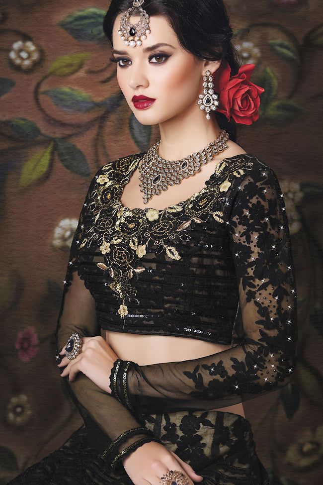 Indi Fashion Black Net Wedding Lahanga