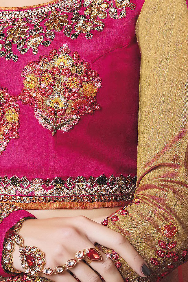 Indi Fashion Pink Mustard and Orange Art Silk Wedding Lahanga