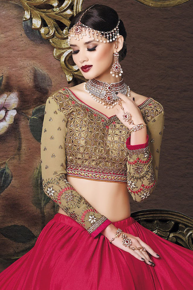 Buy Red Orange and Beige Art Crepe Wedding Lahanga Online at indi.fashion