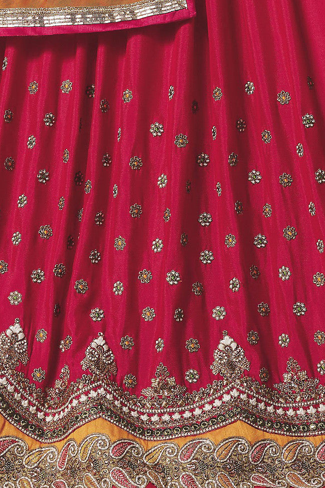 Indi Fashion Red Orange and Beige Art Crepe Wedding Lahanga