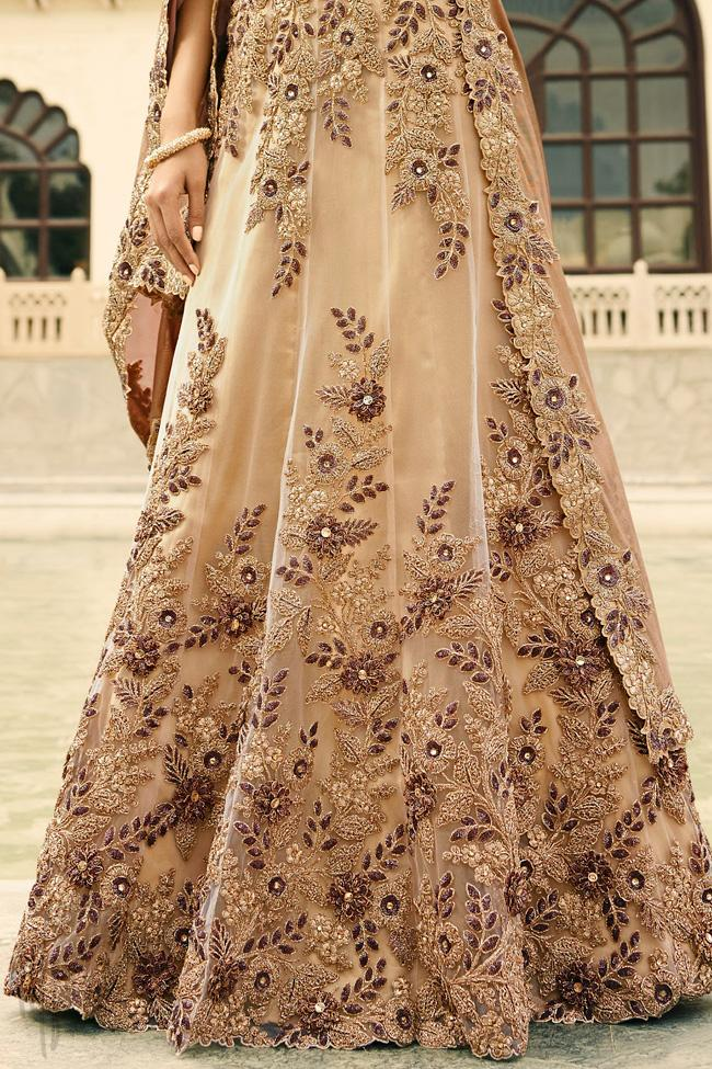 Indi Fashion Beige Net Wedding Lehenga Set