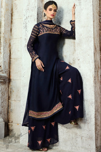 Navy Blue Satin Georgette Palazzo Suit