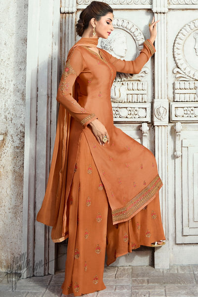 Squash Orange Satin Georgette Palazzo Suit