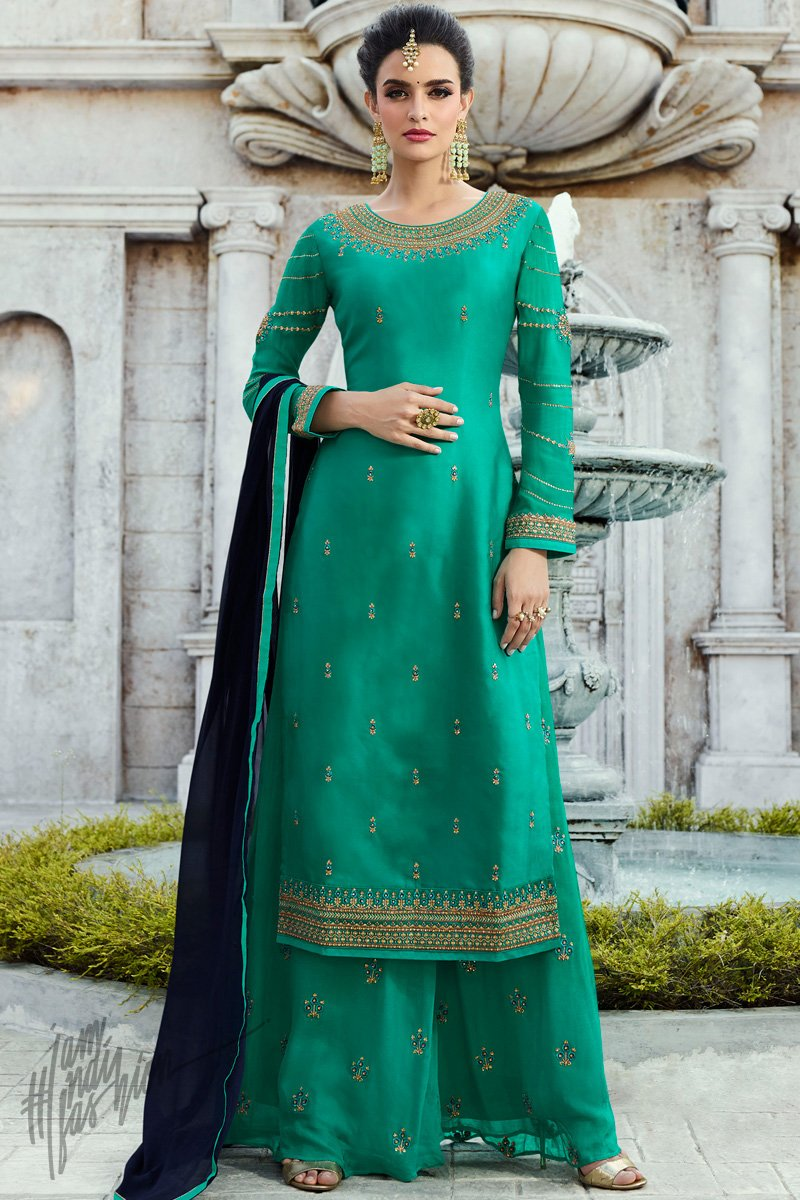 Sea Green Satin Georgette Palazzo Suit