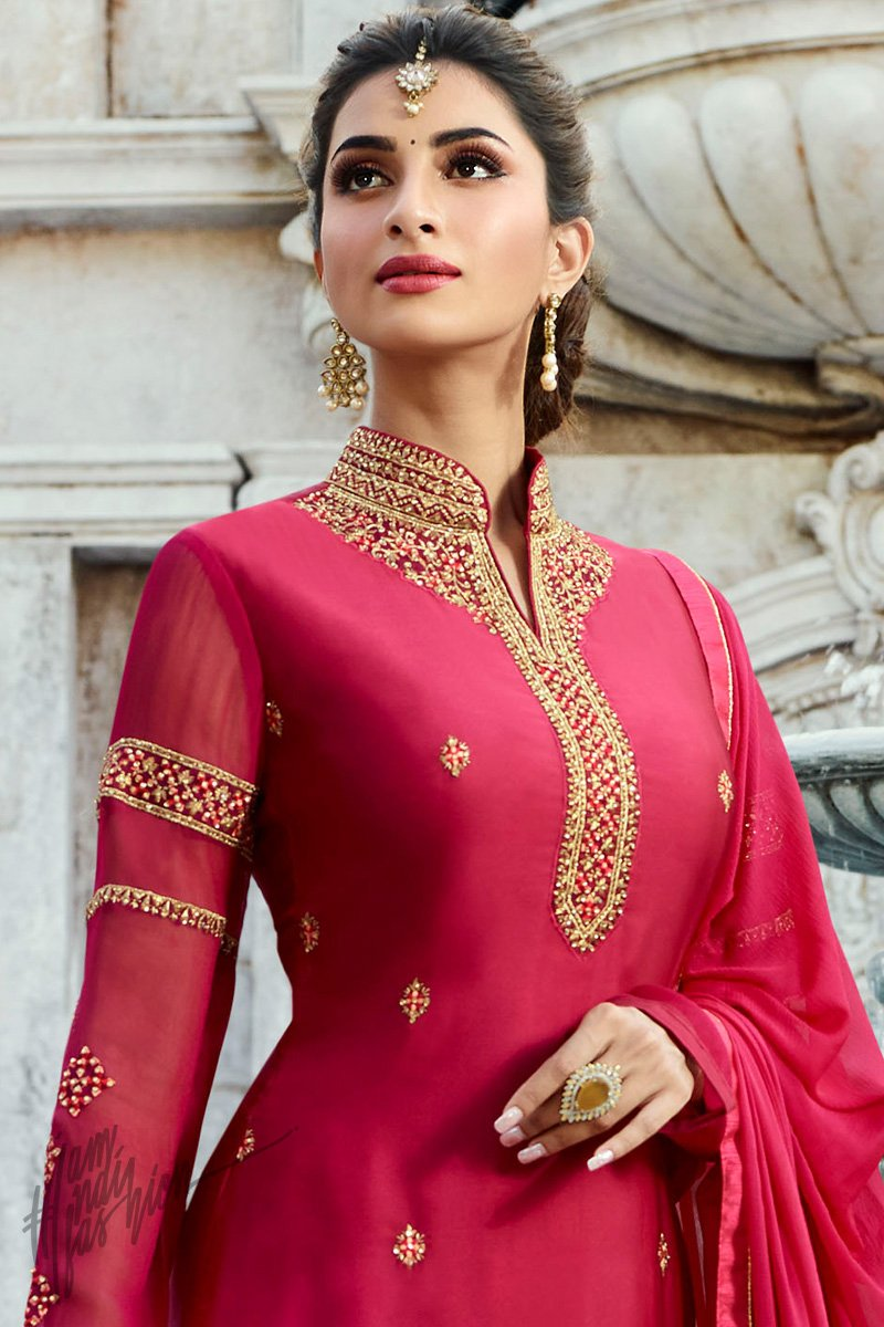 Magenta Satin Georgette Palazzo Suit