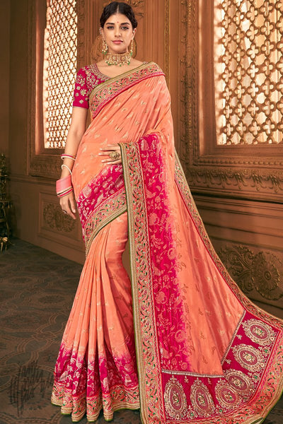 Peach and Magenta Banarasi Silk Saree