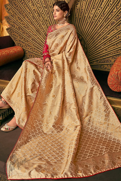 Pale Gold and Red Banarasi Silk Saree