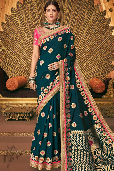 Peacock Blue and Pink Banarasi Silk Saree