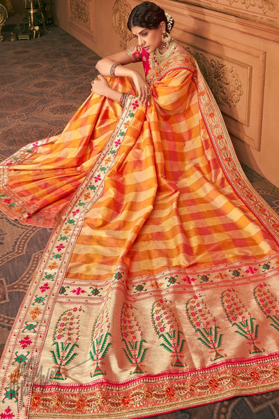 Magenta and Orange Banarasi Silk Saree