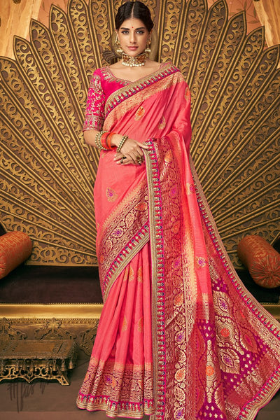 Magenta and Pink Banarasi Silk Saree