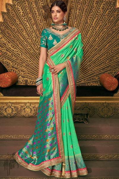 Teal and Fern Green Banarasi Silk Saree