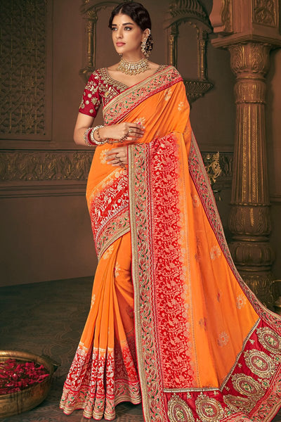 Maroon and Orange Banarasi Silk Saree