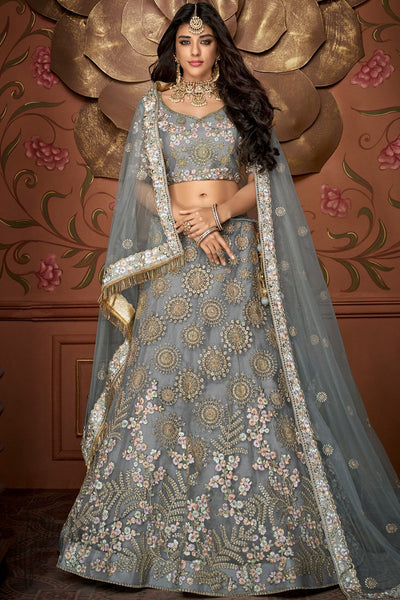 Silver Gray Net and Silk Wedding Lehenga Set