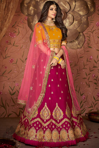 Honey Yellow and Wine Velvet and Silk Wedding Lehenga Set