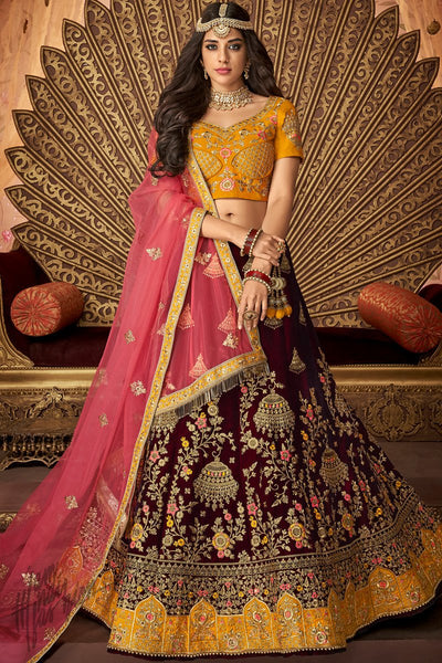 Honey Yellow and Jam Purple Silk Wedding Lehenga Set