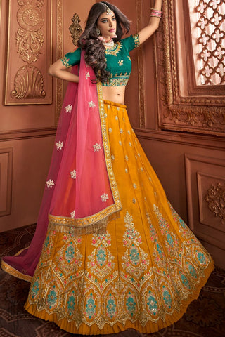 Bottle Green and Honey Yellow Silk Wedding Lehenga Set