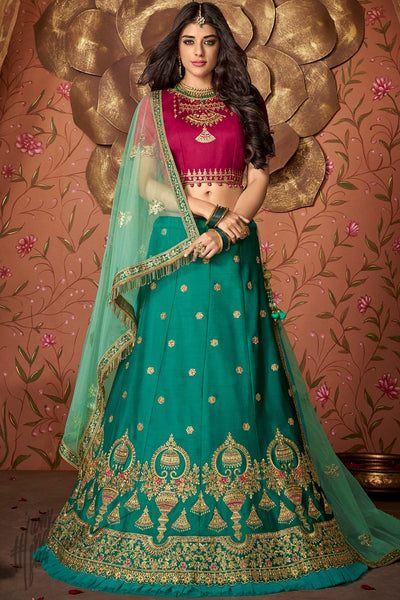 Jam Purple and Ocean Green Silk Wedding Lehenga Set