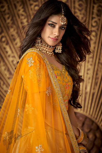 Honey Yellow and Latte Brown Silk Wedding Lehenga Set