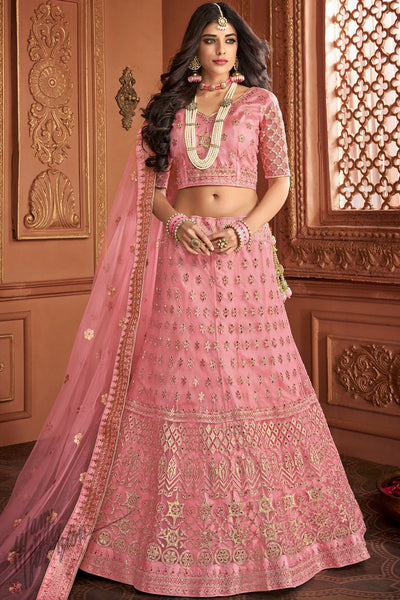 Rose Pink Net and Silk Wedding Lehenga Set