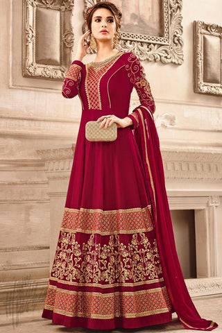 Indi Fashion Red Georgette Party Wear Anarkali Suit