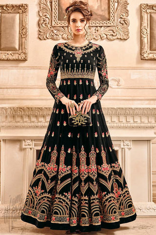 Indi Fashion Black Georgette Party Wear Anarkali Suit