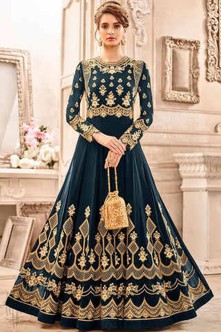Indi Fashion Blue Georgette Party Wear Anarkali Suit