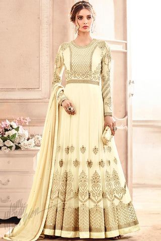 Indi Fashion Cream Georgette Party Wear Anarkali Suit