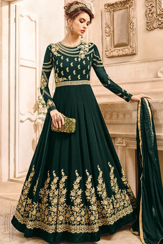 Indi Fashion Green Georgette Party Wear Anarkali Suit
