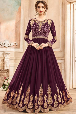 Indi Fashion Wine Georgette Party Wear Anarkali Suit