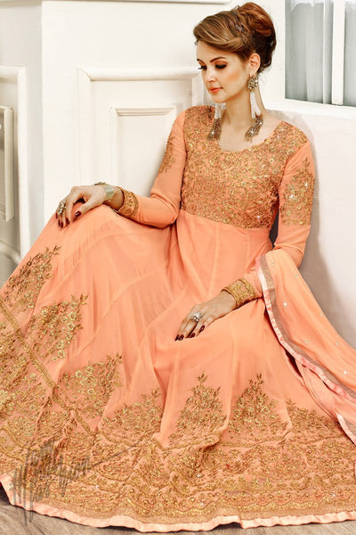 Indi Fashion Peach Georgette Party Wear Anarkali Suit