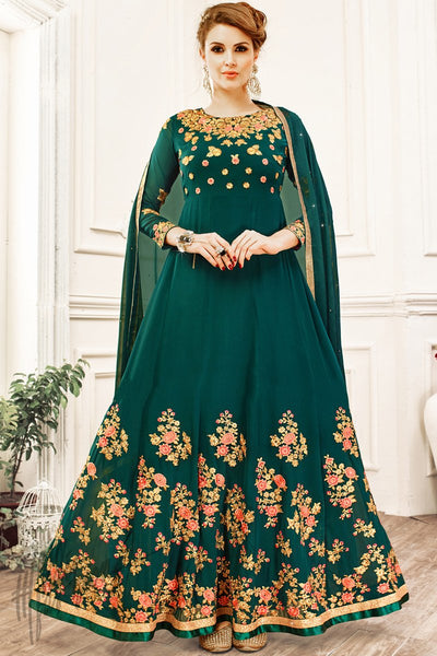 Indi Fashion Bottle Green Georgette Party Wear Anarkali Suit