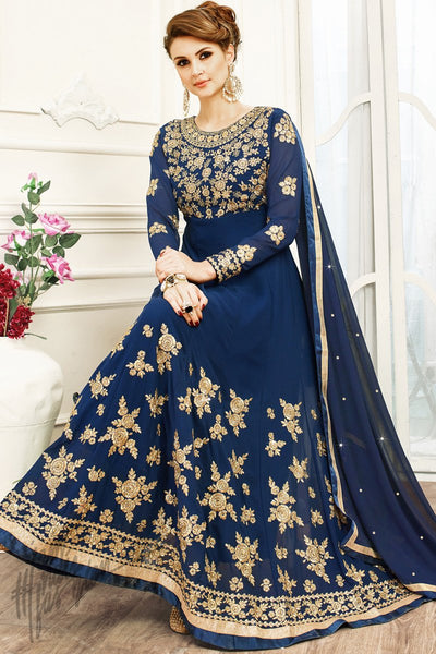 Indi Fashion Navy Blue Georgette Party Wear Anarkali Suit