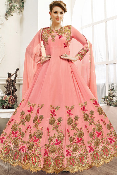 Indi Fashion Pink Georgette Party Wear Anarkali Suit