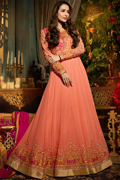 Indi Fashion Peach and Magenta Georgette Party Wear Floor Length Suit
