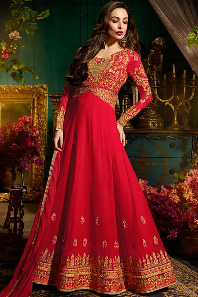 Indi Fashion Red Georgette Party Wear Floor Length Suit