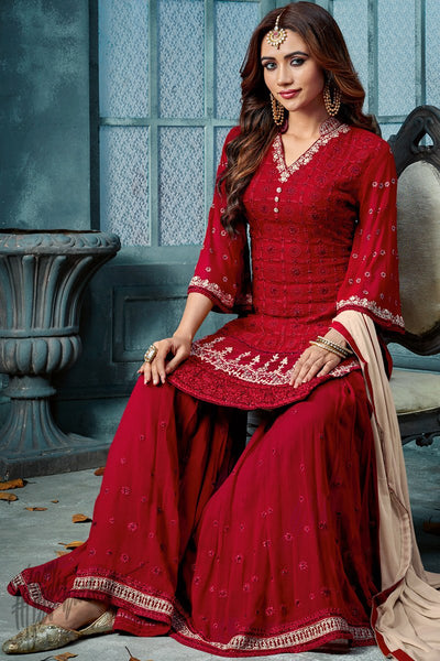 Red and Nude Georgette Party Wear Palazzo Suit