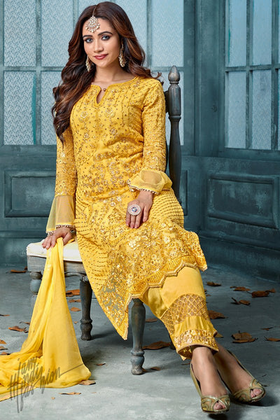 Sunflower Yellow Georgette Party Wear Straight Suit