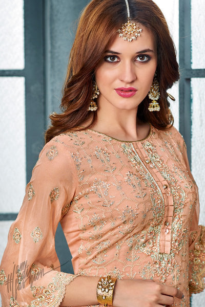 Peach Georgette Party Wear Straight Suit