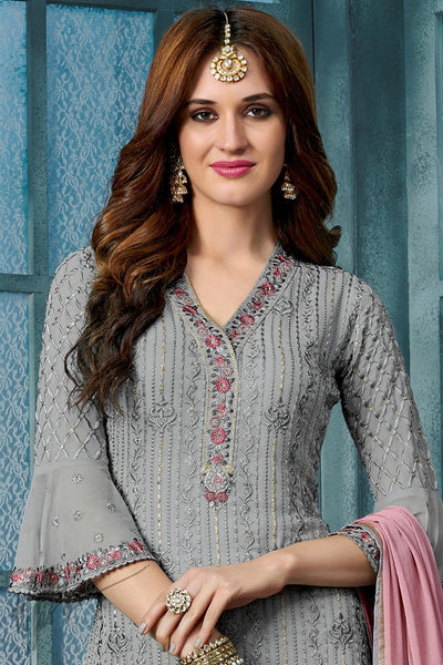 Gray and Mauve Georgette Party Wear Straight Suit