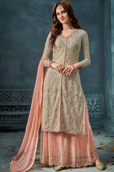 Light Green and Peach Georgette Party Wear Palazzo Suit