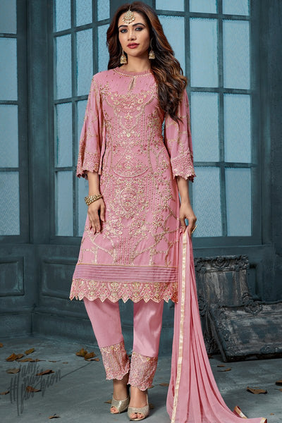 Pink Georgette Party Wear Straight Suit