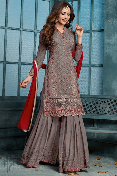 Gray and Red Georgette Party Wear Palazzo Suit