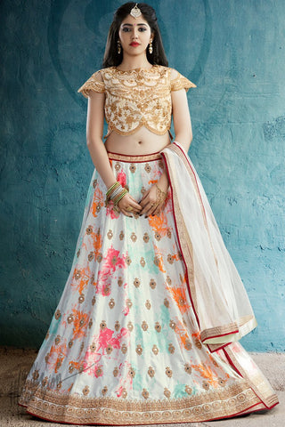 Off White Multicolor Crepe and Silk Lehenga Set