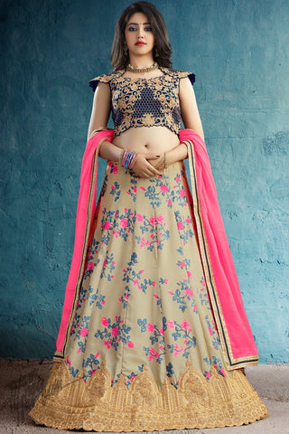 Beige and Navy Blue Silk Lehenga Set