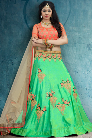 Green and Peach Silk Lehenga Set