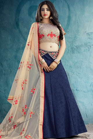 Navy Blue and Light Mauve Silk Lehenga Set