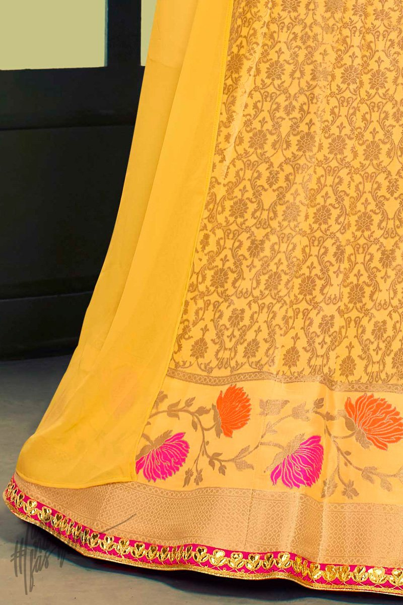 Yellow and Light Pink Banarasi Jacquard Silk Lehenga Set